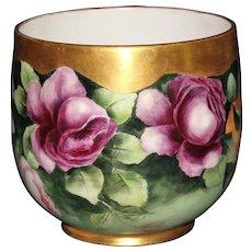 Artist Signed Guerin Limoges Roses Jardiniere