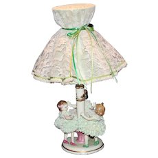 """Muller Volkstedt Dresden """"Ring a RIng a Rosie"""" Lace Lamp"""