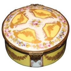 Fancy Sevres Trinket Box with Ormolu Clasp and Trim