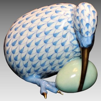 Herend Blue Fishnet Kiwi and Egg  Made in Hungary