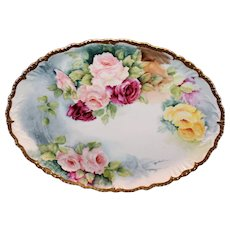 Beautiful Oval JP/L Limoges Hand Painted Roses Tray