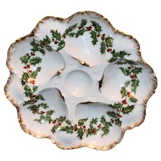 T&V Limoges Holly Oyster Plate