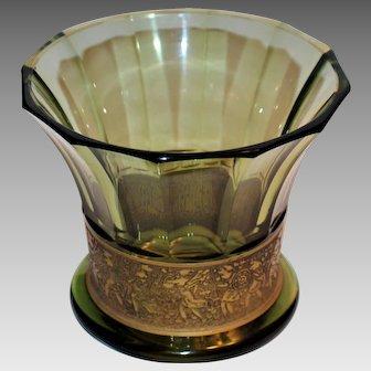 Moser Karlsbad Frieze Amazonian Warrior Vase Smoky Topaz