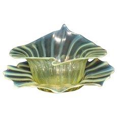 Vaseline Flower Form Finger Bowl & Underplate Webb or Steuben