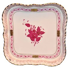 Herend Chinese Bouquet Pierced Edge Square Dish