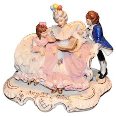 Sandizell Germany Dresden Lace Figure of Mother Reading To Children