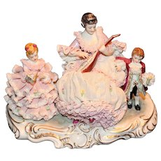"Muller Volkstedt Dresden Lace ""First Lesson"" Figural Group"