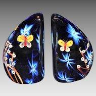 Stunning Joseph Morel/Zellique Studio Butterfly Paperweight Bookends