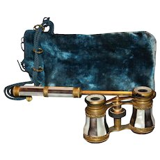 Two Tone Mother of Pearl Long Handle Opera Glasses with Bag-Iris Paris
