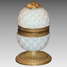 French Opaline Pineapple Shape Casket or Box with Ormolu Trim