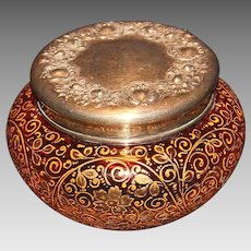 Moser Rubena Enameled Powder Box with Sterling Top