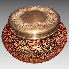 Moser Rubena Enameled Powder Box with Sterling Top