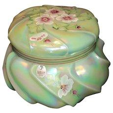 Fenton Wavecrest Green Bon-Bon Jar or Box