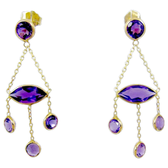 14K Yellow Gold Amethyst Chandelier Dangle Earrings