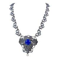 Antique Arts & Crafts Era Lapis Glass Repousse Flower Necklace