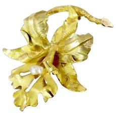 18K Yellow Gold Orchid Flower Brooch Art Nouveau