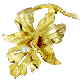 18K Yellow Gold Orchid Flower Brooch Art Nouveau