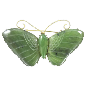 Chinese Carved Nephrite Jade Butterfly Brooch