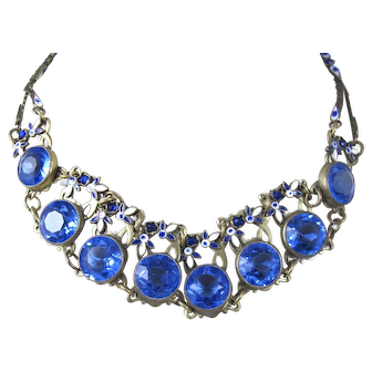 Art Deco Czech Max Neiger Blue Glass Leaf Dot Enamel Necklace