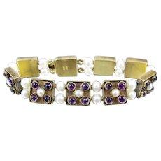 MMA Sterling Vermeil Amethyst Pearl Slide Bracelet. Metropolitan Museum Of Art Bracelet.