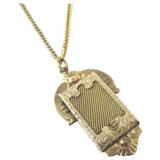 Victorian Secret Hidden Compartment Locket Necklace. 12K Gold Filled Mesh Sliding Door Locket.