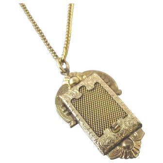 Victorian Secret Hidden Compartment Locket Necklace. 12K Gold Filled Mesh Sliding Door Locket.
