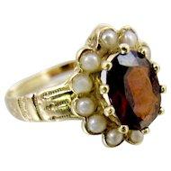 Victorian 14K Yellow Gold Garnet Pearl Halo Ring. January Birthstone.