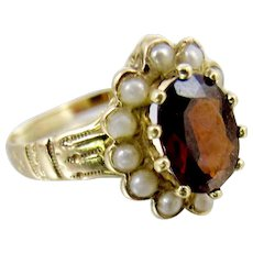 Victorian 14K Yellow Gold Garnet Pearl Halo Ring. January Birthstone.