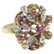 !4K Diamond Ruby Cocktail Ring, Harem Cluster Yellow Gold, Size 6 1/2