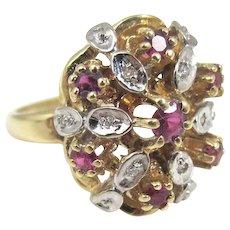 Vintage 14K Gold Ruby Diamond Ring.