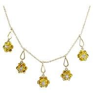 Antique Diamond Buttercup Necklace 14K Yellow Gold