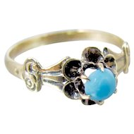 Victorian 10K Turquoise Buttercup Flower Ring Size 5