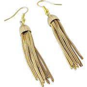 Vintage Foxtail Chains Tassel Earrings. 14K Yellow Gold Filled.