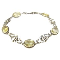 Art Deco Sterling Citrine Glass Filigree Bracelet