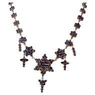 Victorian Bohemian Garnet Necklace. Rose Cut Garnet Flower Links