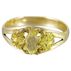 Victorian Monogrammed Bangle Bracelet. Gold Filled