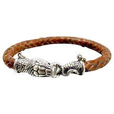 Vintage Sterling Brown Leather Snake Bracelet J. Hand.