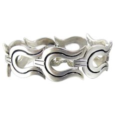 Sterling Silver Taxco Mexico Pre Columbian Link Bracelet