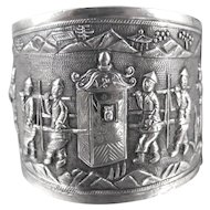 Chinese Export Silver Wedding Bracelet, Repousse Wide Storyteller Cuff