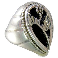 Art Nouveau Sterling Silver French Jet Grape Cluster Ring