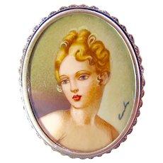 Silver Miniature Portrait Pendant Brooch