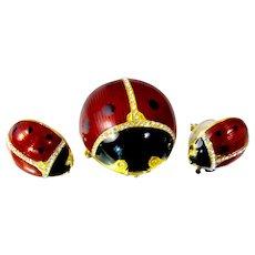 MMA Sterling Enamel Ladybug Pendant Earring Set