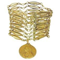 French FIX Art Nouveau Charm Bracelet, Religious Charm Double Sided, Wide Bird Cage Links
