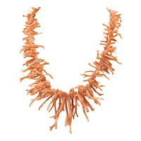 Art Deco Natural Angel Skin Coral Branch Necklace