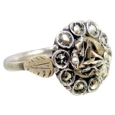 Antique Georgian 10K Rose Gold Cut Steel Ring.