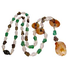 Chinese Carved Multi Gemstone Court Necklace