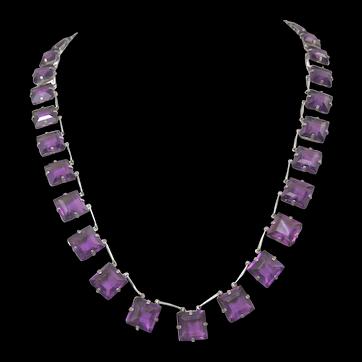 Art Deco German Amethyst Glass Necklace