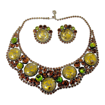 Juliana D&E Easter Egg Amber Rhinestone Necklace Earring Set