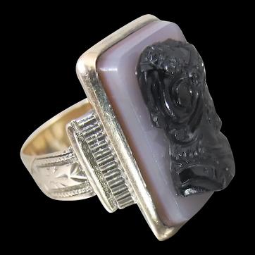 Georgian 10K Rosy Gold Hardstone Cameo Ring