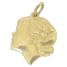 14K Gold Repousse Girl Silhouette Cameo Pendant